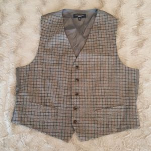 Brooks Brothers gray--black/rust plaid vest 46REG